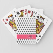 Cool monogram grey large polka dots pattern playing cards