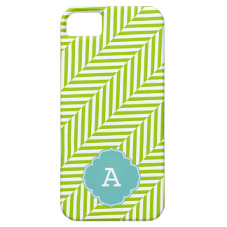 COOL monogram herringbone pattern lime turquoise iPhone SE/5/5s Case