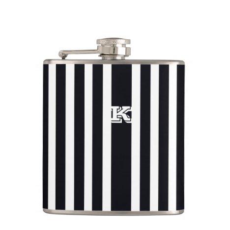 Cool Monogram Hip Flask Art Black & White Stripes
