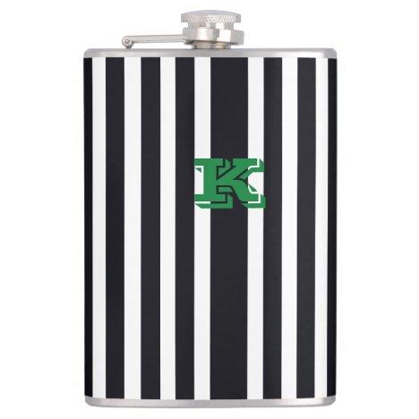 Cool Monogram Hip Flask Black & White Stripes Art