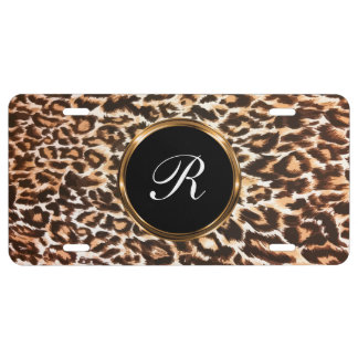 Cool Monogram Leopard Style Car Tag License Plate