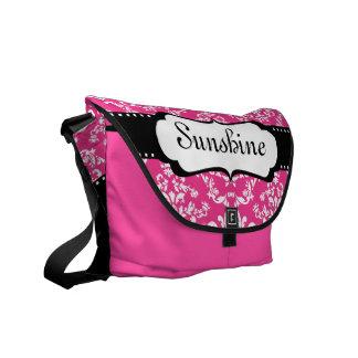 Cool Monogram Pink Damask Cute School Messenger Bag
