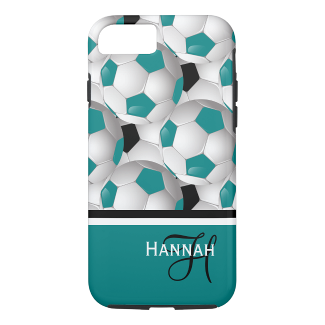 Cool Monogram Teal Black Soccer Ball Pattern iPhone 7 Case