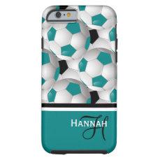 Cool Monogram Teal Black Soccer Ball Pattern Tough iPhone 6 Case