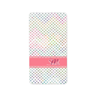 Cool monogram watercolours polka dots pattern address label