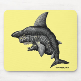 Cool monster shark ink drawing art mouse pad