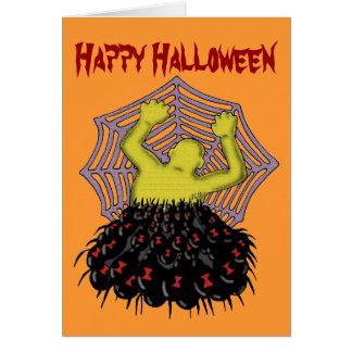 Cool monster spiders Halloween card design