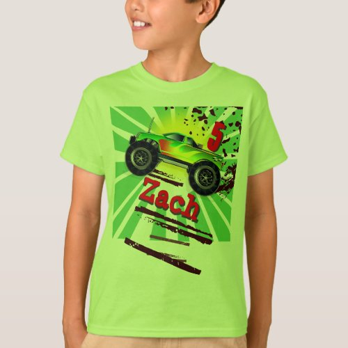 Cool Monster Truck With Custom Name  Age T Shirt