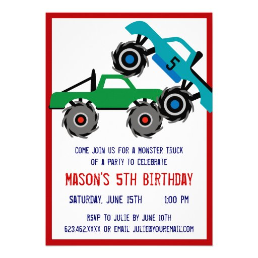 "Cool Monster Trucks Birthday Party Invitations 5"" X 7 ..."
