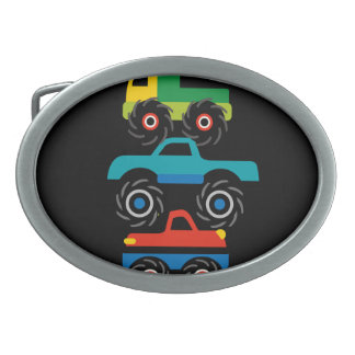 Cool Monster Trucks Blue Red Green Gifts for Boys Oval Belt Buckles