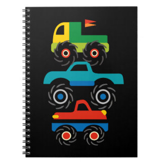 Cool Monster Trucks Blue Red Green Gifts for Boys Notebook