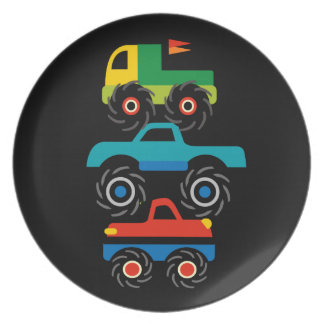 Cool Monster Trucks Blue Red Green Gifts for Boys Plate