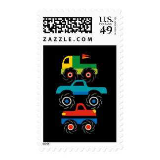 Cool Monster Trucks Blue Red Green Gifts for Boys Stamp