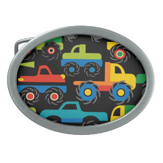 Cool Monsters Trucks Transportation Gifts for Boys Oval Belt Buckle