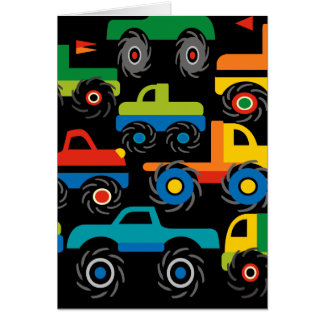 Cool Monsters Trucks Transportation Gifts for Boys Greeting Cards