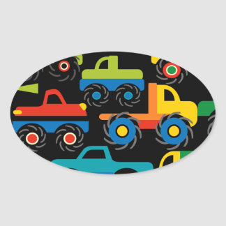 Cool Monsters Trucks Transportation Gifts for Boys Oval Sticker
