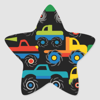 Cool Monsters Trucks Transportation Gifts for Boys Star Sticker