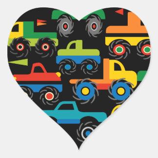 Cool Monsters Trucks Transportation Gifts for Boys Heart Sticker