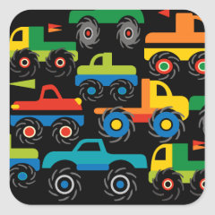 Cool Monsters Trucks Transportation Gifts for Boys Square Stickers
