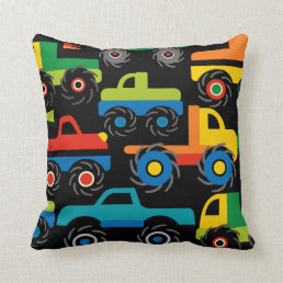 Cool Monsters Trucks Transportation Gifts for Boys Throw Pillow