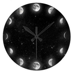 Cool Moon Phases Minimal Novelty Wall Clock