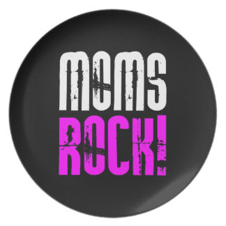 Cool Mothers Day Birthdays Christmas Moms Rock Dinner Plate