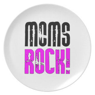Cool Mothers Day Birthdays Christmas Moms Rock Plate
