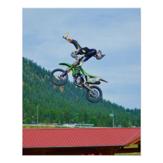 Cool Motocross Extreme Freestyle Stunt Art 3 Poster