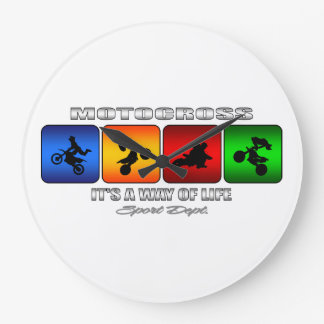 Cool Motocross It Is A Way Of Life Large Clock