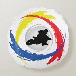 Cool Motocross Tricolor Emblem Round Pillow