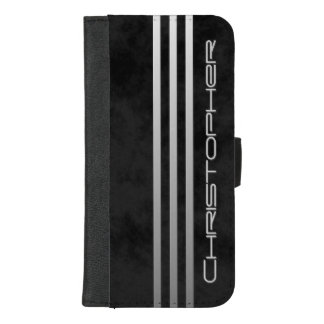 Cool Mottled Black Triple Gradient Bars with Name iPhone 8/7 Plus Wallet Case