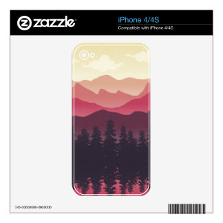 Cool Mountain ranges in sunset time design iPhone 4 Skin
