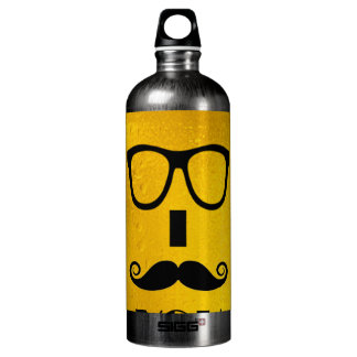 cool moustache on a beer effect image aluminum water bottle