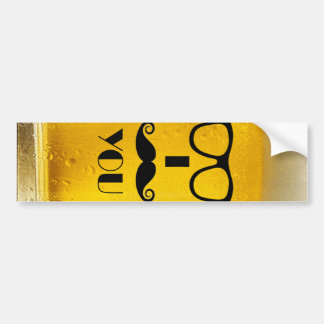 cool moustache on a beer effect image car bumper sticker
