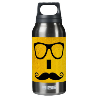 cool moustache on a beer effect image insulated water bottle