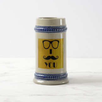 cool moustache on a beer effect image 18 oz beer stein