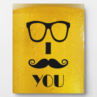 cool moustache on a beer effect image plaque