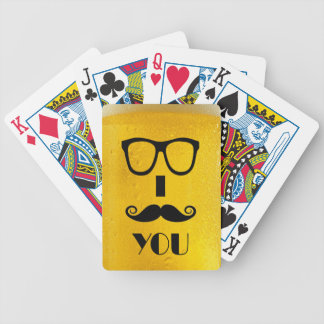 cool moustache on a beer effect image bicycle poker deck