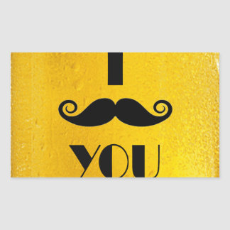 cool moustache on a beer effect image rectangular sticker