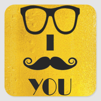 cool moustache on a beer effect image square sticker