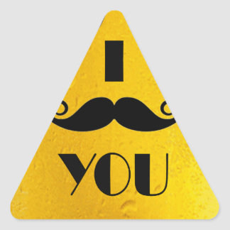 cool moustache on a beer effect image triangle sticker