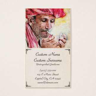Cool Mr. Smoker classic watercolor portrait paint Business Card