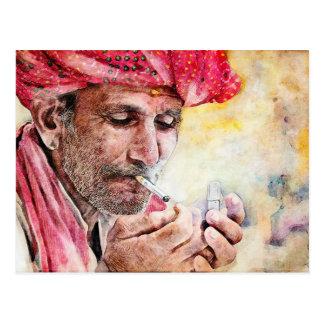 Cool Mr. Smoker classic watercolor portrait paint Postcard