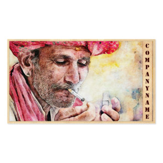 Cool Mr. Smoker digital watercolour portrait art Business Card