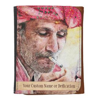 Cool Mr. Smoker digital watercolour portrait art Leather Trifold Wallet