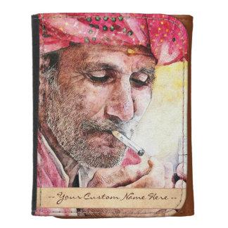 Cool Mr. Smoker digital watercolour portrait art Leather Wallets