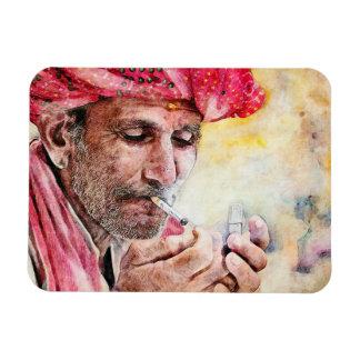 Cool Mr. Smoker digital watercolour portrait Magnet