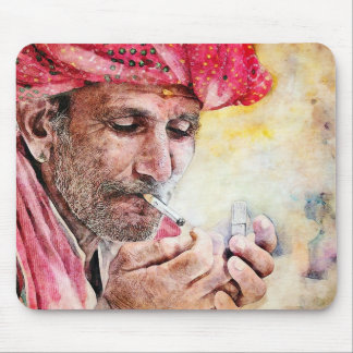 Cool Mr. Smoker digital watercolour portrait Mouse Pad