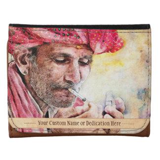 Cool Mr. Smoker vintage watercolour portrait art Wallet