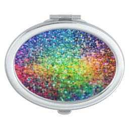 Cool Multicolor Retro Glitter & Sparkles Pattern 2 Compact Mirror